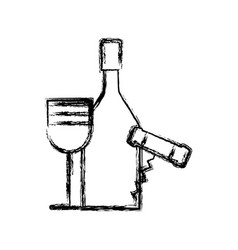 contour wine bottle and glass with corkscrew vector image