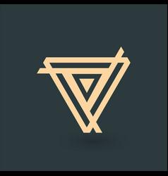 Creative gold trinity futuristic triple triangle vector