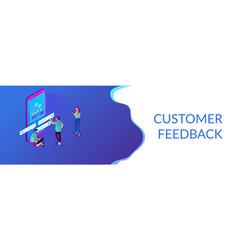 Customer feedback isometric 3d banner header vector