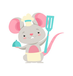 Cute mouse chef holding a spatula funny animal vector