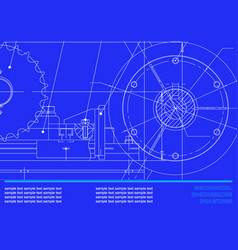 Drawing mechanical drawings on a dark blue vector