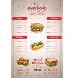 Drawing vertical color fast food menu design vector image