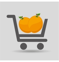 E-shopping fresh peach fruit design vector