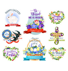 easter holiday symbols cartoon icon set design vector image