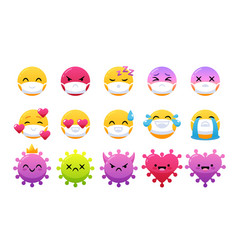 emoticon wearing face masks in laugh yay smile vector image