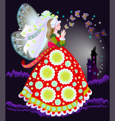 Fairyland princess in fashionable medieval dress vector