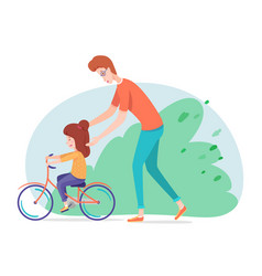 Father teaching daughter riding bicycle in yard vector