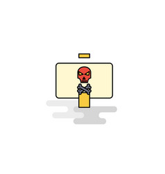 Flat danger board icon vector