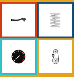 flat icon auto set of input technology tachometr vector image