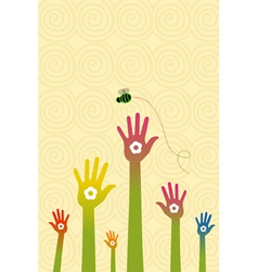 floral hand with flying bee vector image