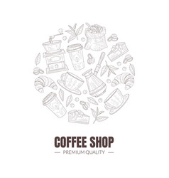 Fresh and tasty coffee shop symbols arranged in vector