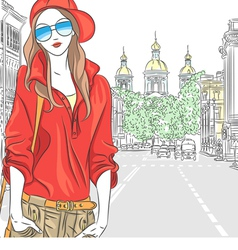 Girl in the street in St Petersburg vector