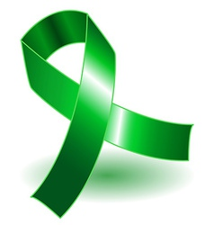 Green awareness ribbon and shadow vector image