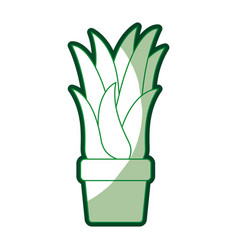 green silhouette of corn plant in flower pot with vector image