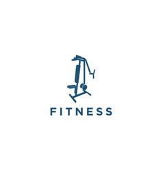 Gym logo design with equipment icon vector