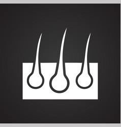 Hairs icon on black background for graphic and web vector