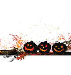 Halloween background - three pumpkins vector image