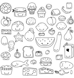 Hand drawn cute food kawaii outline vector