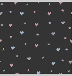 Hand drawn seamless pattern with tiny hearts on vector
