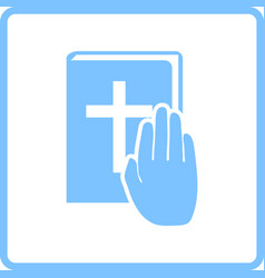 Hand on bible icon vector