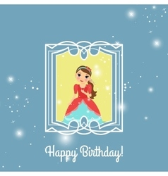 Happy Birthday blue princess card vector