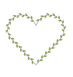 heart love with leafs romantic icon vector image