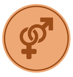 Heterosexual symbol bronze coin vector