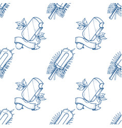 Ice cream lolly outline seamless pattern for vector