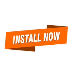 Install now banner template ribbon label sign vector