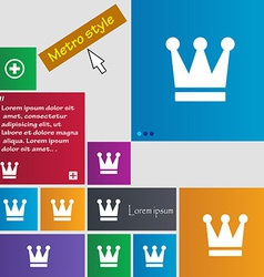 King Crown icon sign Metro style buttons Modern vector image
