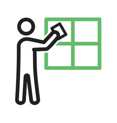 man cleaning window vector image