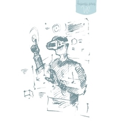 Man wearing virtual reality goggles drawn vector image