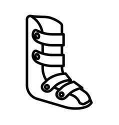 Medical leg bandage or brace isolated line icon vector