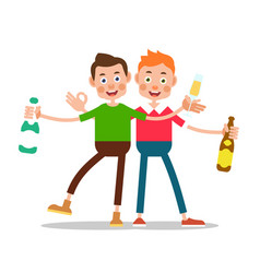 men drinking alcohol one boy is holding a bottle vector image