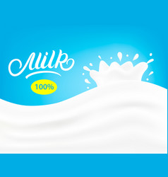 Milk wave with realistic splashes and drops vector