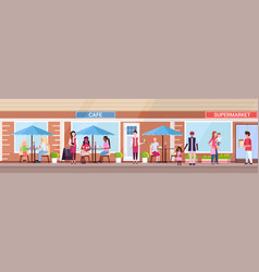 mix race people visitors sitting summer cafe shop vector image