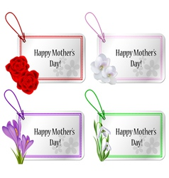 Mothers day card set with flowers vector image
