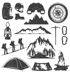 Mountain Climbing Decorative Icons Set vector