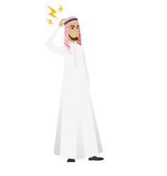 Muslim businessman with lightning over head vector