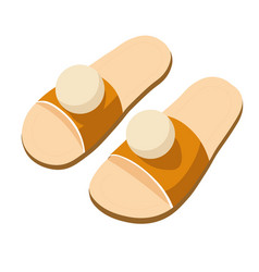 Pair house slippers with pom poms in tan vector