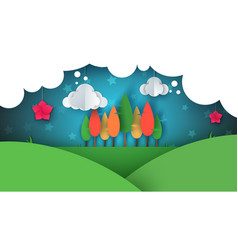 Paper cartoon ladnscape tree flower hill cloud vector