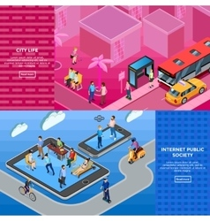 People Isometric Banners vector image