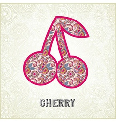 Pink ornamental pattern cherry silhouette vector