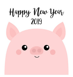 Pink piggy piglet happy new year 2019 pig smiling vector