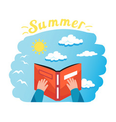 reading a book summer time flat icon vector image