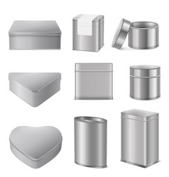 Realistic tin boxes packaging set vector