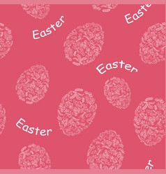 red seamless pattern with easter eggs vector image