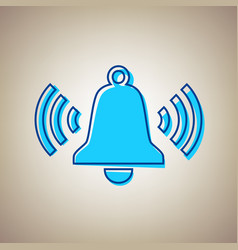 ringing bell icon sky blue icon with vector image
