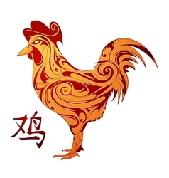 rooster as animal symbol chinese zodiac vector image