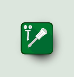Screw and screwdriver icon vector